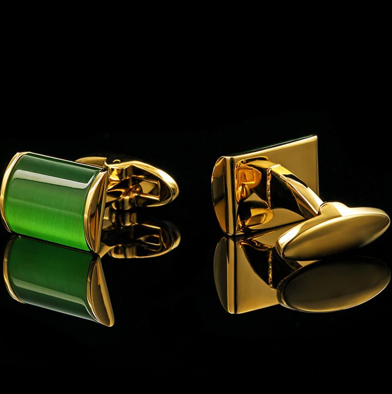 Mens Green and Gold Cufflinks Set from Gentlemansguru.com