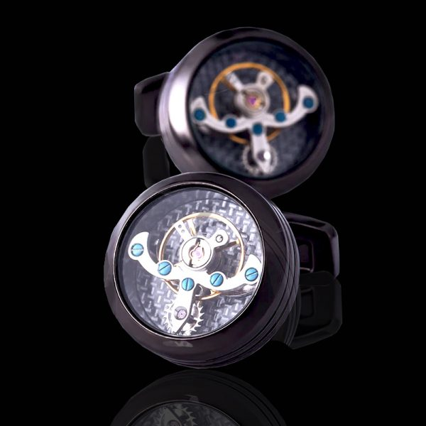 Mens Gun Black Movement Watch Cufflinks from Gentlemansguru.com