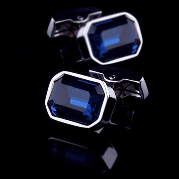 Mens Large Blue Crystal Cufflinks from Gentlemansguru.com