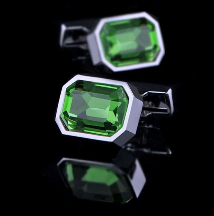 Mens Large Green Crystal Cufflinks from Gentlemansguru.com
