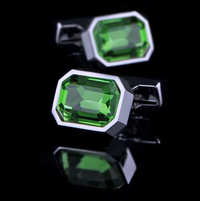 Mens Large Green Crystal Cufflinks from Gentlemansguru.com
