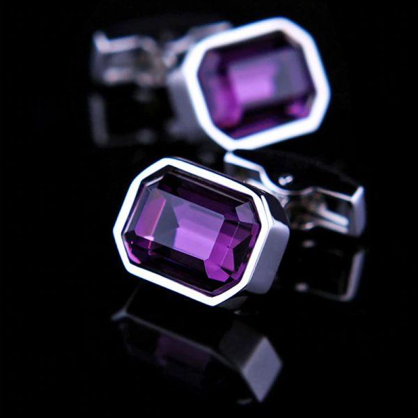 Mens Large Purple Crystal Cufflinks from Gentlemansguru.com