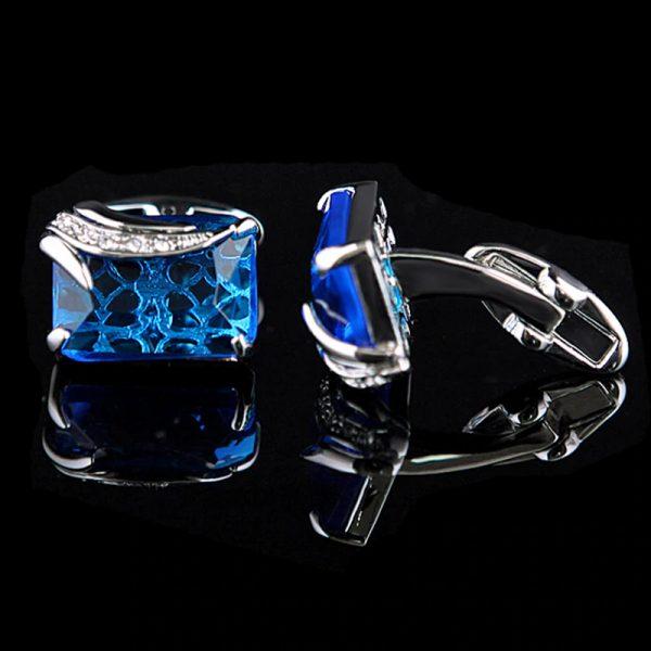 Men's Light Blue Gemstone Cufflinks from Gentlemansguru.com