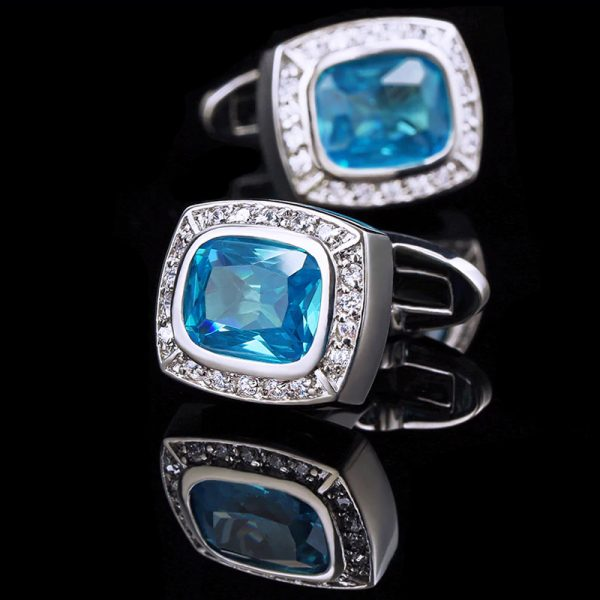 Mens Luxury Crystal Light Blue Cufflinks Sets from Gentlemansguru.com