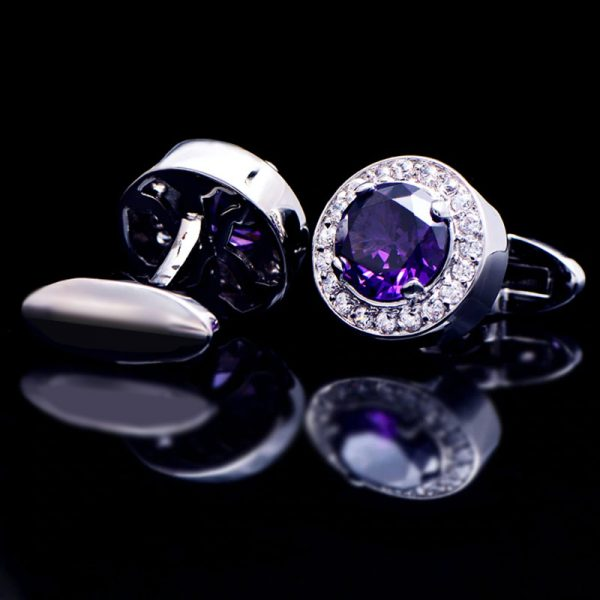 Mens Luxury Crystal Purple Round Wedding Cufflinks from Gentlemansguru.com