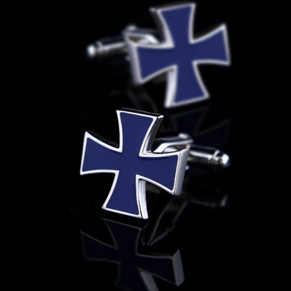Mens Navy Blue Iron Cross Cufflinks from Gentlemansguru.com