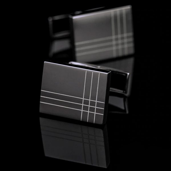 Mens Plaid Black Gun Plated Cufflinks from Gentlemansguru.com