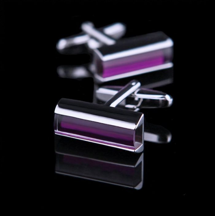 Mens Purple Crystal Cufflinks from Gentlemansguru.com