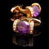 Mens Purple and Gold Cufflinks, 18K Plated Wedding Cufflinks from Gentlemansguru.com