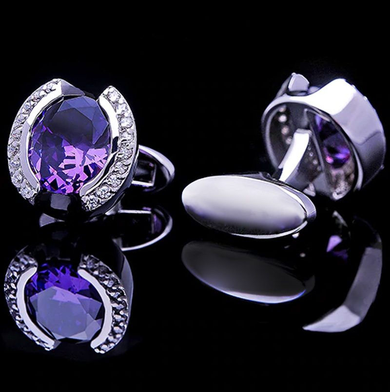 Mens Purple and Silver Cufflinks from Gentlemansguru.com.