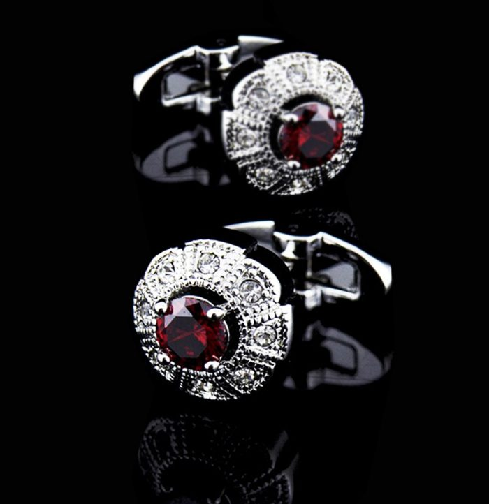 Mens-Red-Cufflinks-With-Silver-Plating--from-Gentlemansguru.com
