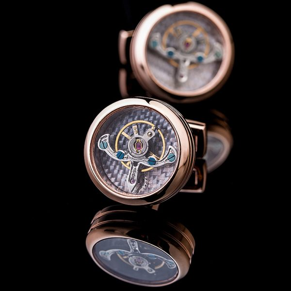 Mens Rose Gold Watch Movement Cufflinks Set from Gentlemansguru.com