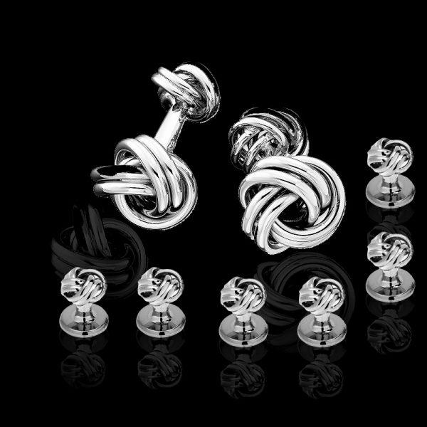 Mens Silver Knot Cufflinks and Studs Set from Gentlemansguru.com