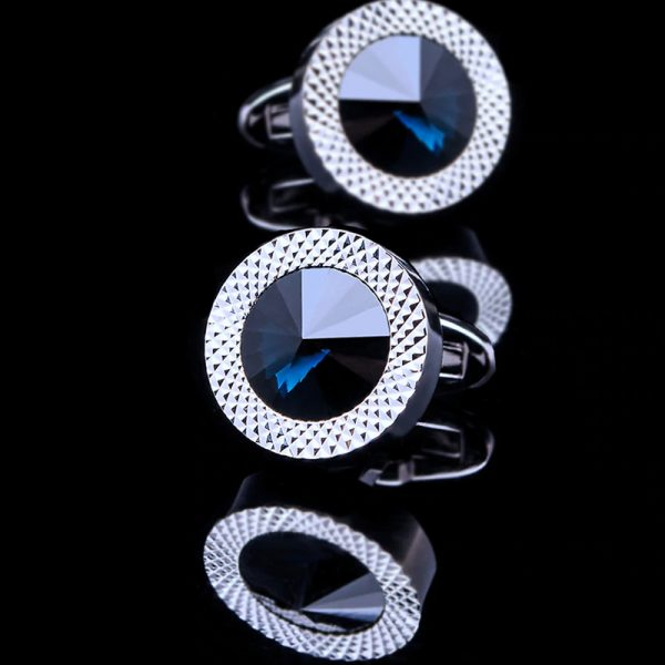 Mens Silver Round Blue Crystal Cufflinks Set from Gentlemansguru.com