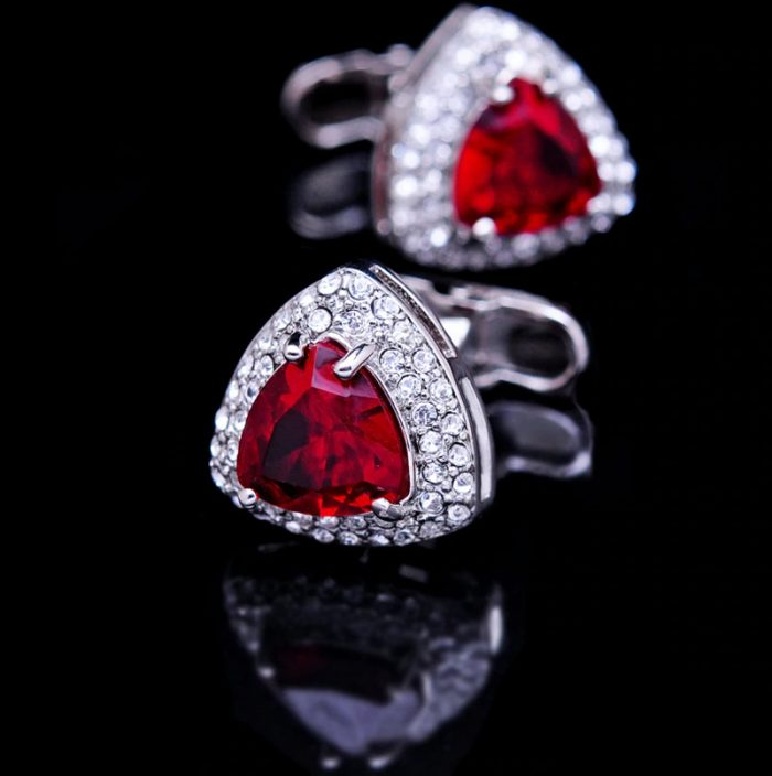 Mens Silver and Red Cufflinks With Crystal from Gentlemansguru.com