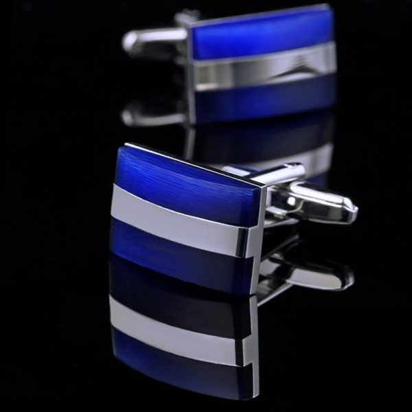 Mens Silver and Cobalt Blue Cufflinks Set from Gentlemansguru.com