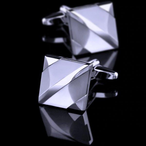 Mens Square White Cufflinks from Gentlemansguru.com