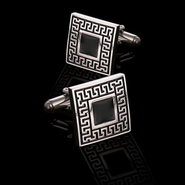 Mens Vintage Black Enamel Cufflinks from Gentlemansguru.com