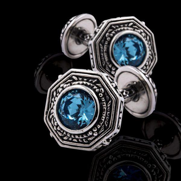 Mens Vintage Engraved Blue Crystal Cufflinks from Gentlemansguru.com