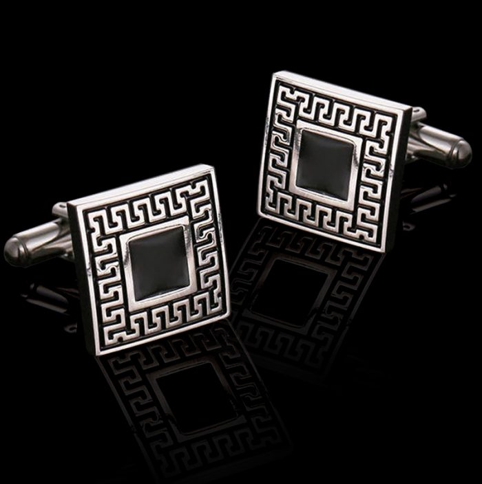Mens Vintage Silver Enamel Cufflinks Set from Gentlemansguru.com