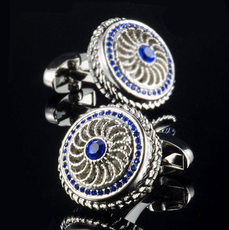 Mens Vintage Silver and Royal Blue Cufflinks With Crystal from Gentlemansguru.com
