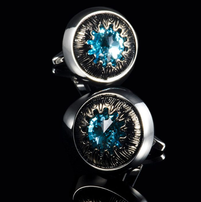 Mens Vintage Sky Blue Crystal Cufflinks from Gentlemansguru.com