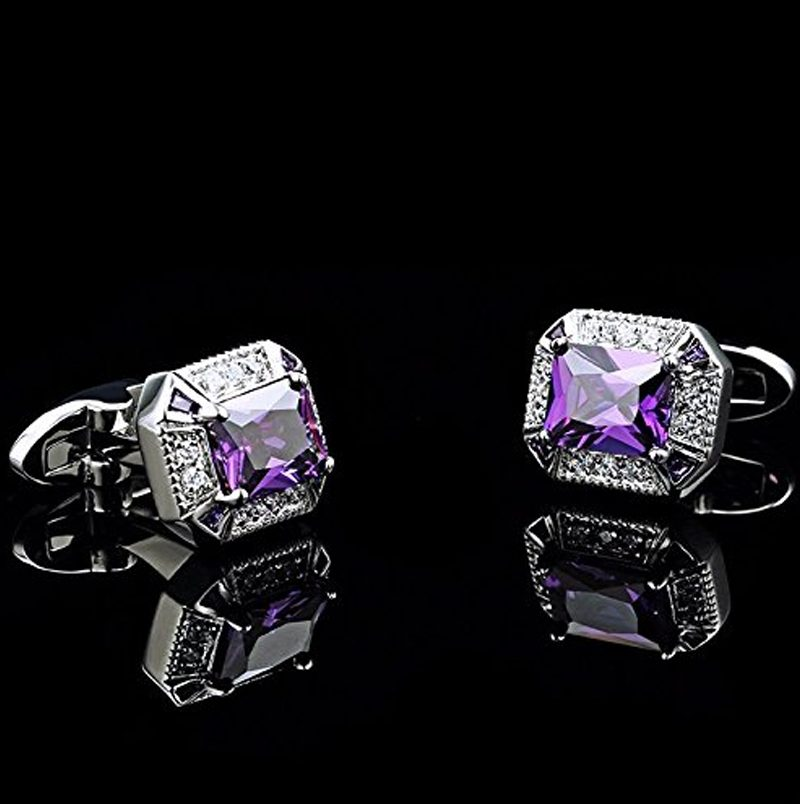 Mens Wedding Silver and Purple Cufflinks from Gentlemansguru.com