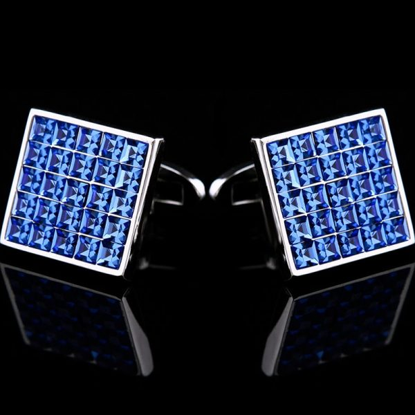 Mesn Royal Blue Swarovski Crystal Cufflinks For Men from Gentlemansguru.com