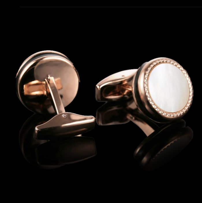 Mother Of Pearl Rose Gold Cufflinks Set from Gentlemansguru.com