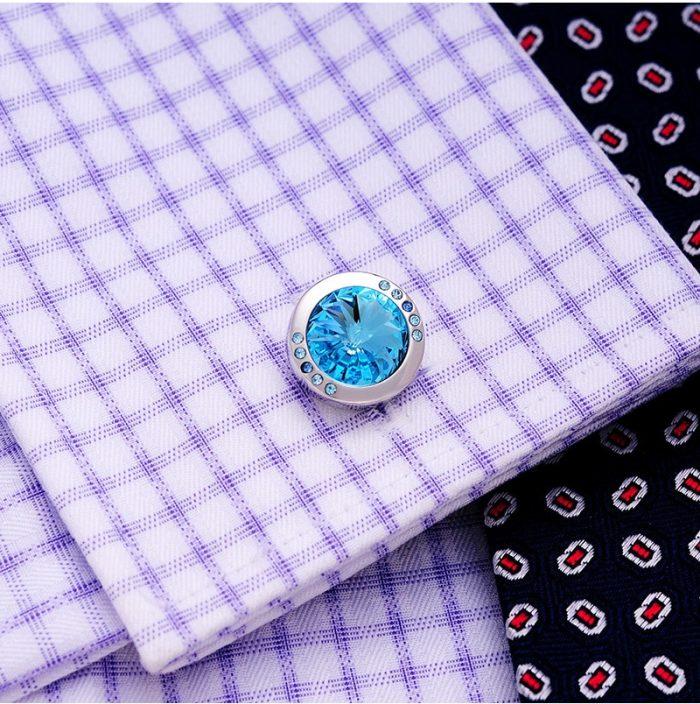 Natural Blue Stone Cufflinks Round Shaped Wedding Tuxoedo from Gentlemansguru.com