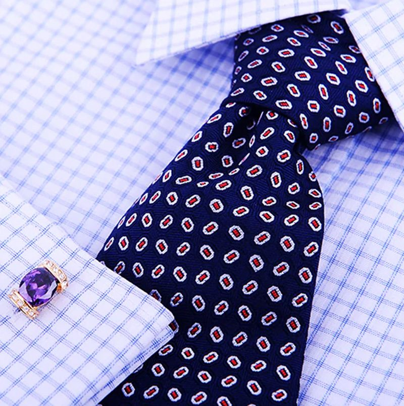 Purple And Gold Cufflinks With Crystal from Gentlemansguru.com