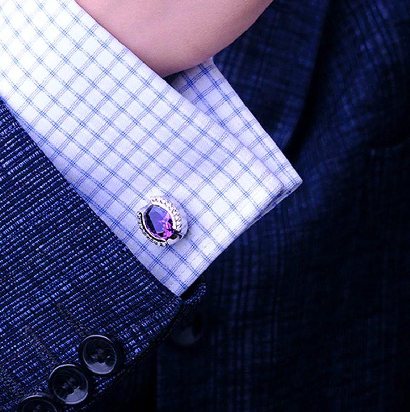 Purple And Silver Crystal Wedding, Prom Cufflinks from Gentlemansguru.com.
