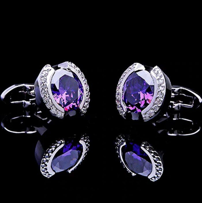 Purple Crystal Cufflinks from Gentlemansguru.com