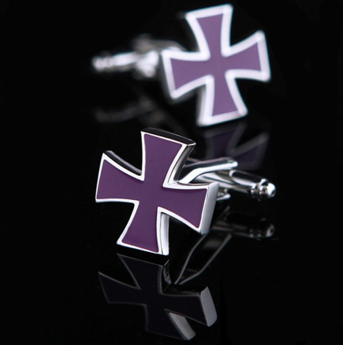 Purple Iron Cross Cufflinks from Gentlemansguru.com