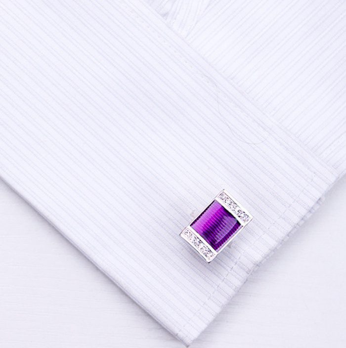 Purple Tuxedo Cufflinks With Crystals from Gentlemansguru.com