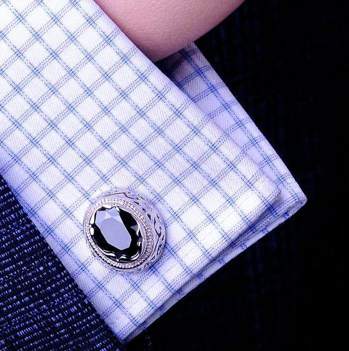 Real Antique Black Stone Cufflinks from Gentlemansguru.com