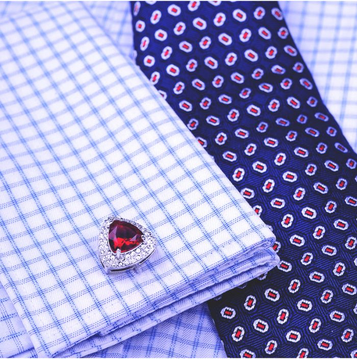 Red Button Cufflinks Crystal Red Ruby Cufflinks from Gentlemansguru.com