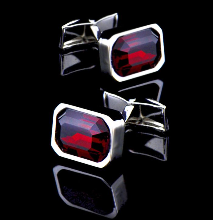 Red Crystal Cufflinks For Men from Gentlemansguru.com