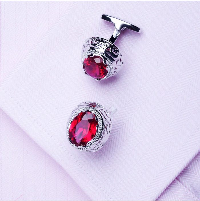 Red Genuine Ruby Cufflinks Antique Design Ruby Cufflinks Button Shirt Cufflinks from Gentlemansguru.com