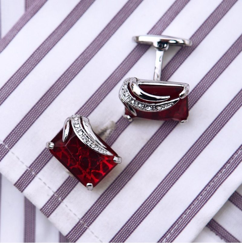 Red Ruby Gemstone Cufflionks With Crystal Pierced from Gentlemansguru.com