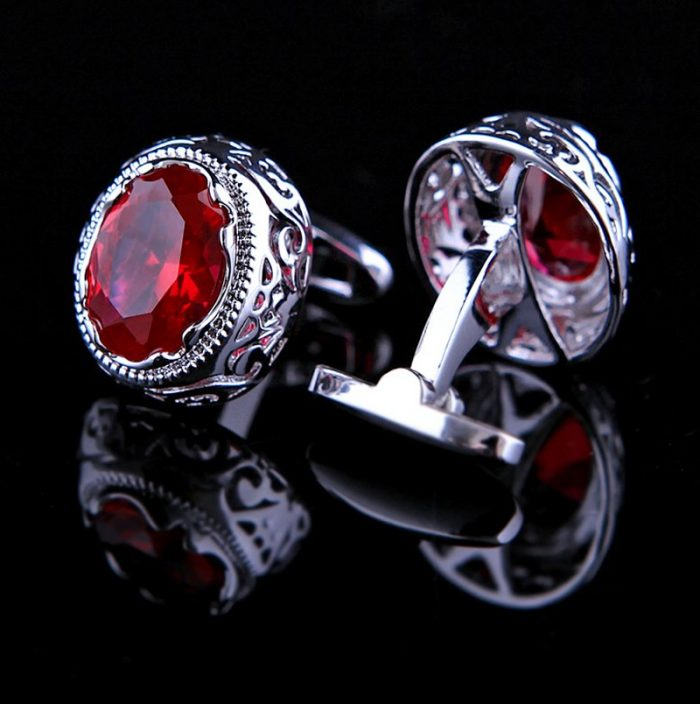 Silver and Red Vintage Ruby Cufflinks australia-s-samuel-canada from Gentlemansguru.com