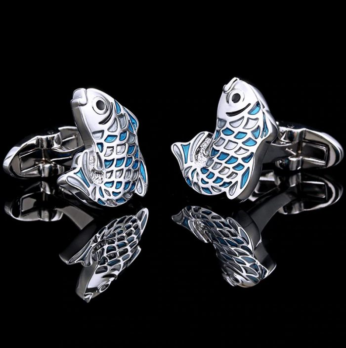 Retro Blue Silver Fish Cufflinks from Gentlemansguru.com