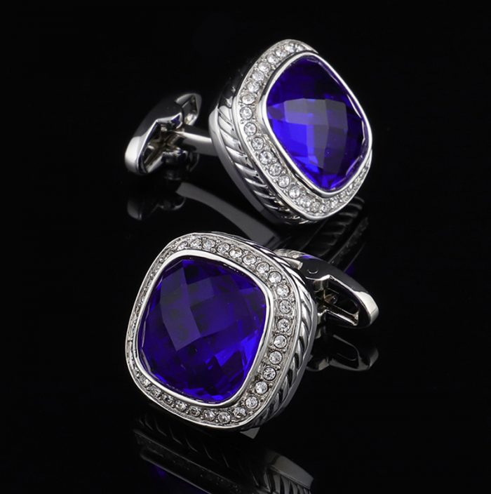 Rhinestone Cobalt Blue Cufflinks from Gentlemansguru.com
