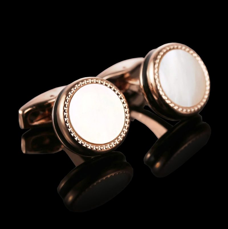 Rose Gold Mother Of Pearl Cufflinks from Gentlemansguru.com