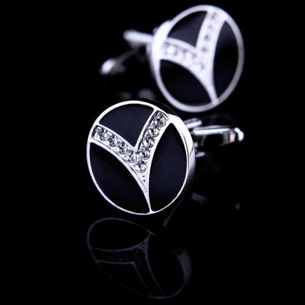 Round Black Crystal Cufflinks from Gentlemansguru.com