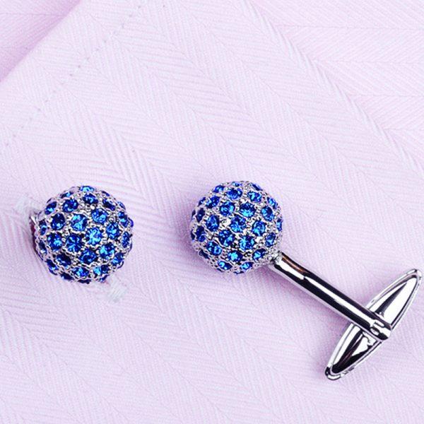 Round Blue Crystal Button Cufflinks Tuxedo from Gentlemansguru.com