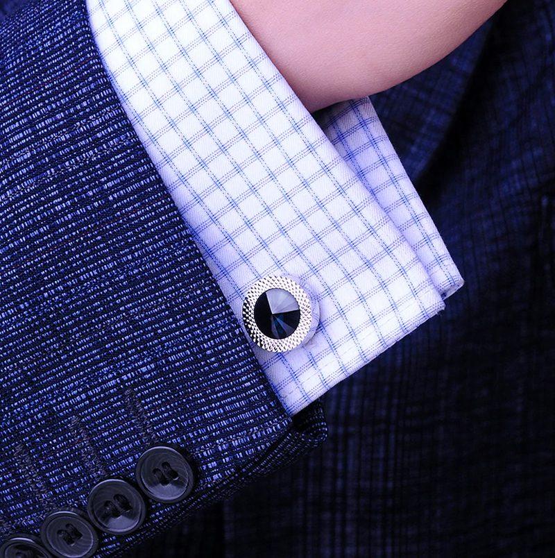 Round Blue Crystal Cufflinks Button Shirt Cufflinks from Gentlemansguru.com