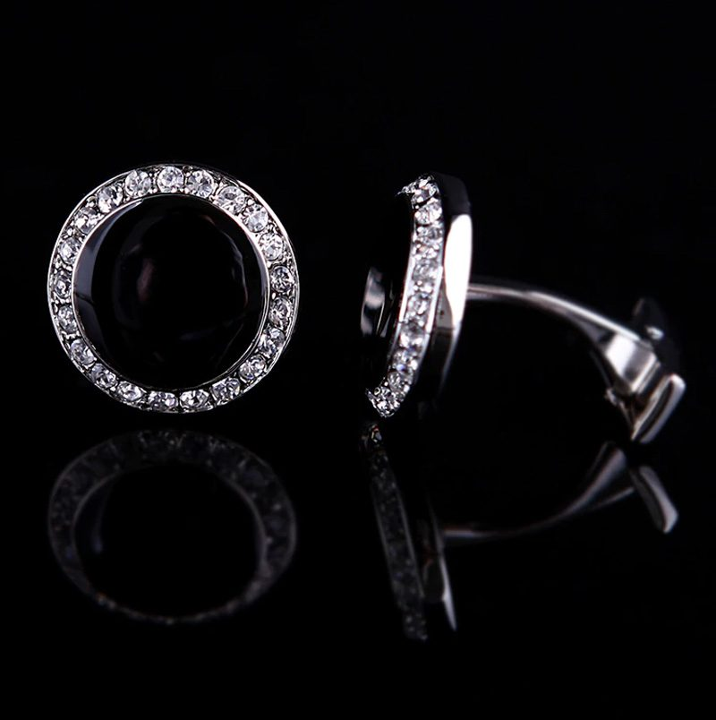Round Crystal Tuxedo Cufflinks Wedding Cufflinks from Gentlemansguru.com