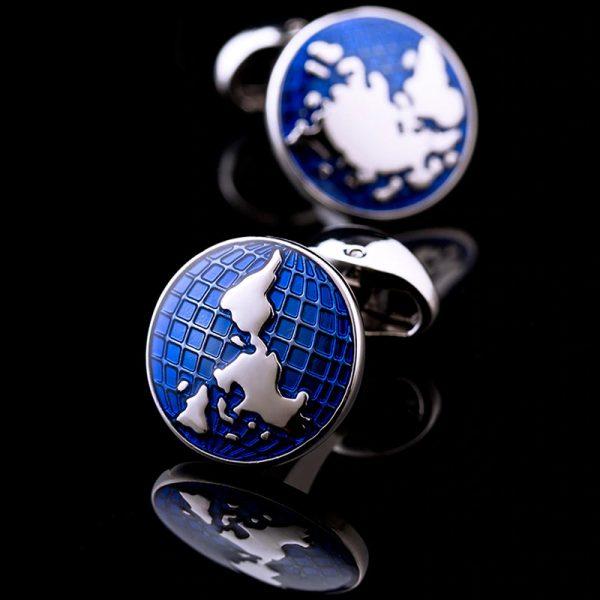 Round Engraved World Map Cufflinks from Gentlemansguru.com