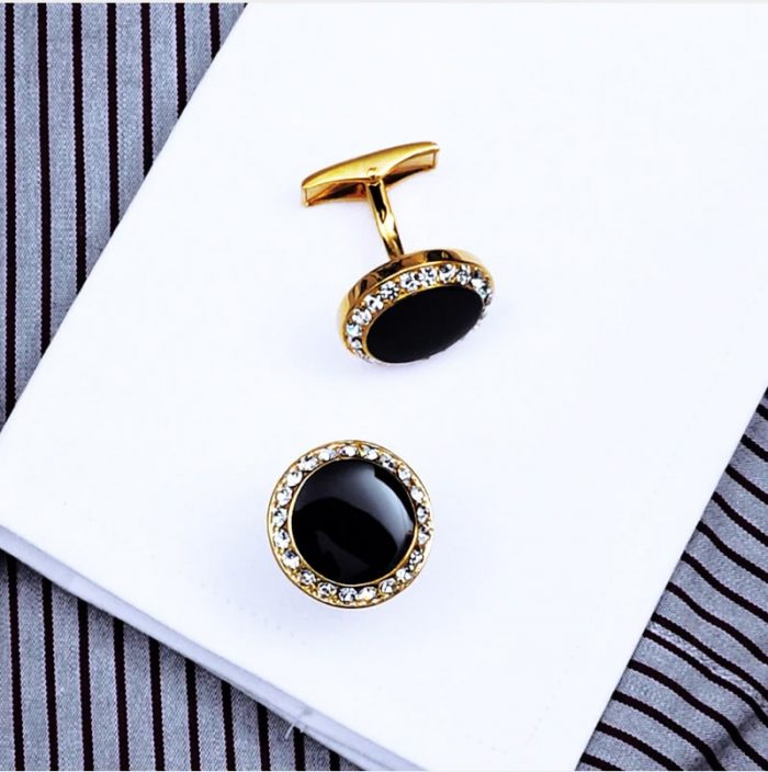 Round Gold Black Cufflinks Button Shirt Cufflinks Black and Gold Cufflinks With Crystal from Gentlemansguru.com